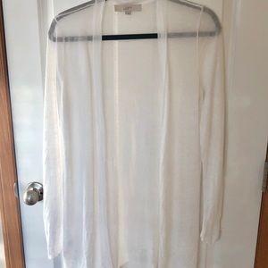 LOFT Sheer White Open Cardigan
